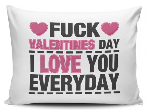Fuck Valentines Day I Love You Everyday Funny Novelty Pillow Case